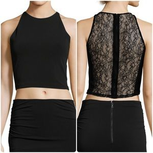 ALICE+OLIVIA | THEODORA FITTED BLACK LACE TOP |12